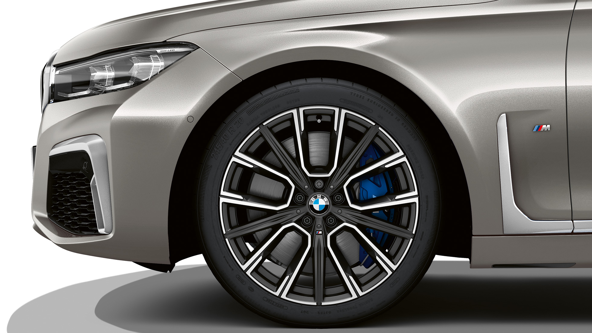 BMW 7 Serie Sedan M Sportpakket: Close-up van de wielen