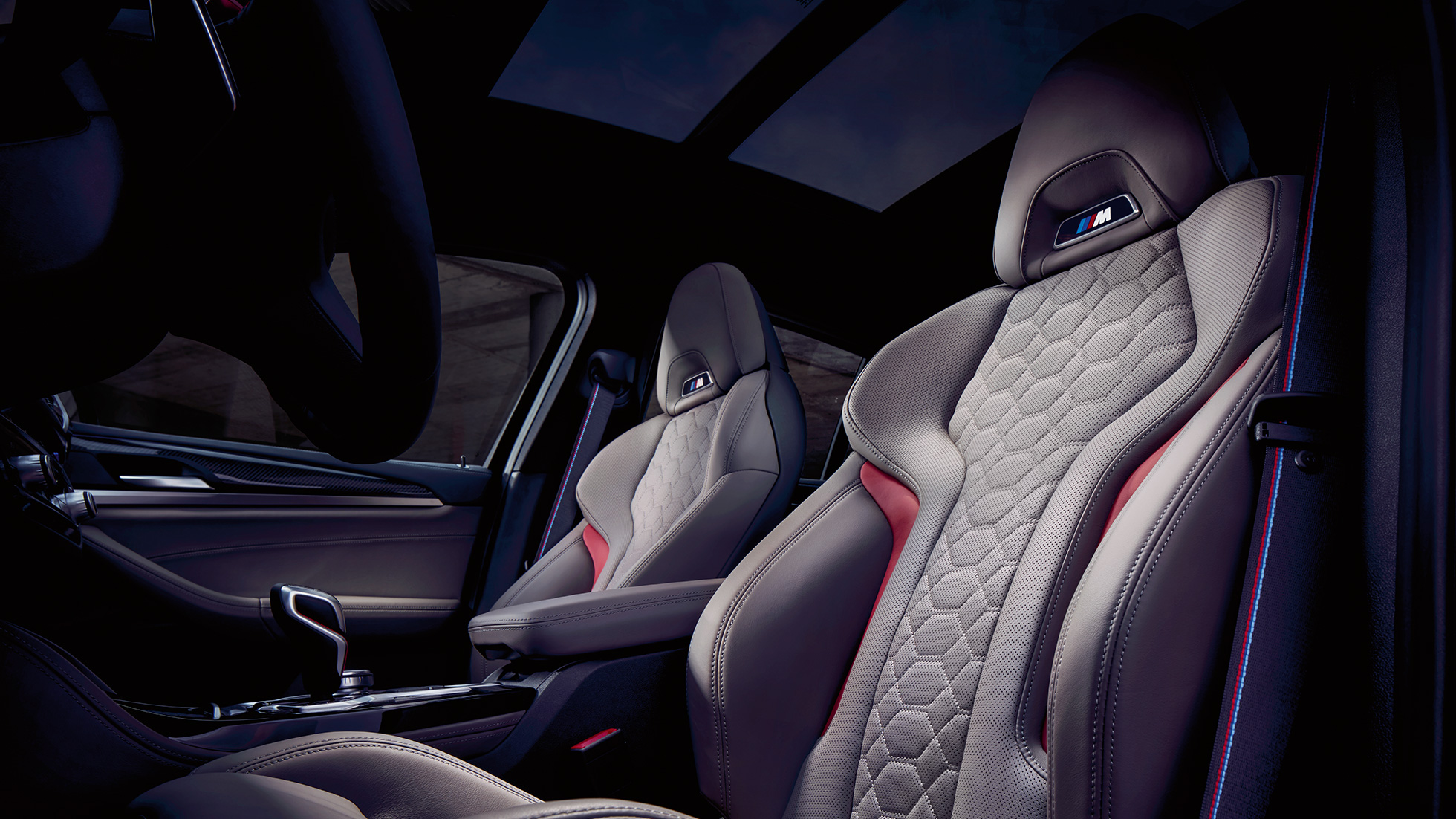BMW X4 M Competition, interior, M Sport seats in leather 'Merino' Adelaide Grey.